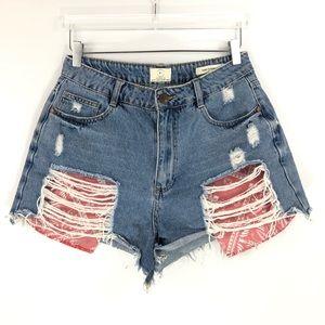 Cotton on • High flash back jean shorts